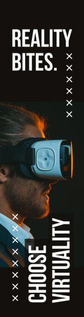 Virtuality Quote Man Using Vr Glasses Skyscraper – шаблон для дизайну