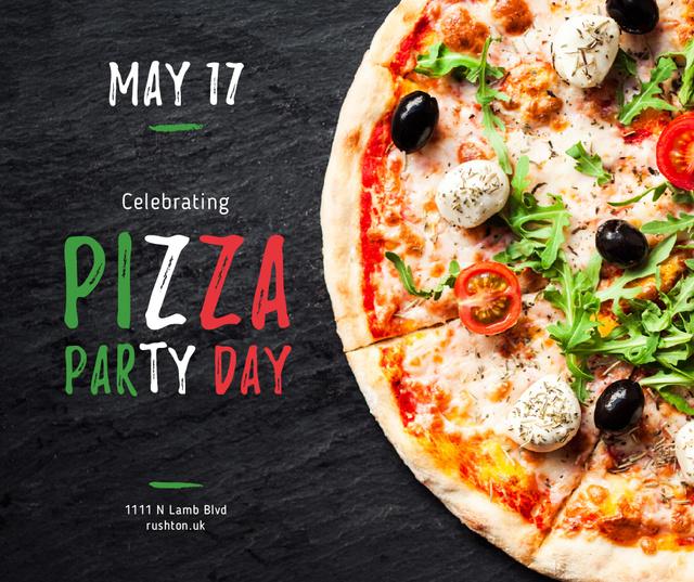 Plantilla de diseño de Pizza Party Day celebrating food Facebook