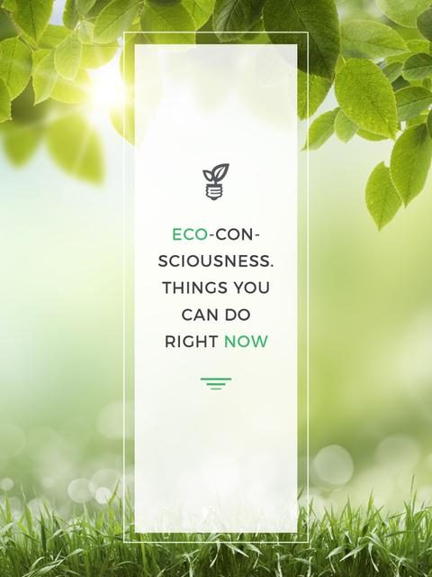 Eco Quote Light Bulb with Leaves Poster US Tasarım Şablonu