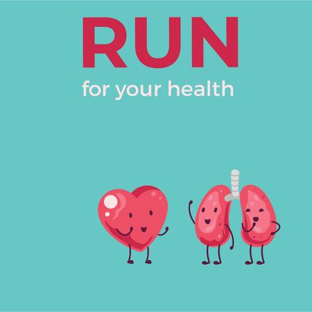 Cigarette chasing lungs and heart characters Animated Post Design Template