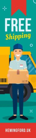 Delivery Offer Mailman Holding Parcel Skyscraperデザインテンプレート