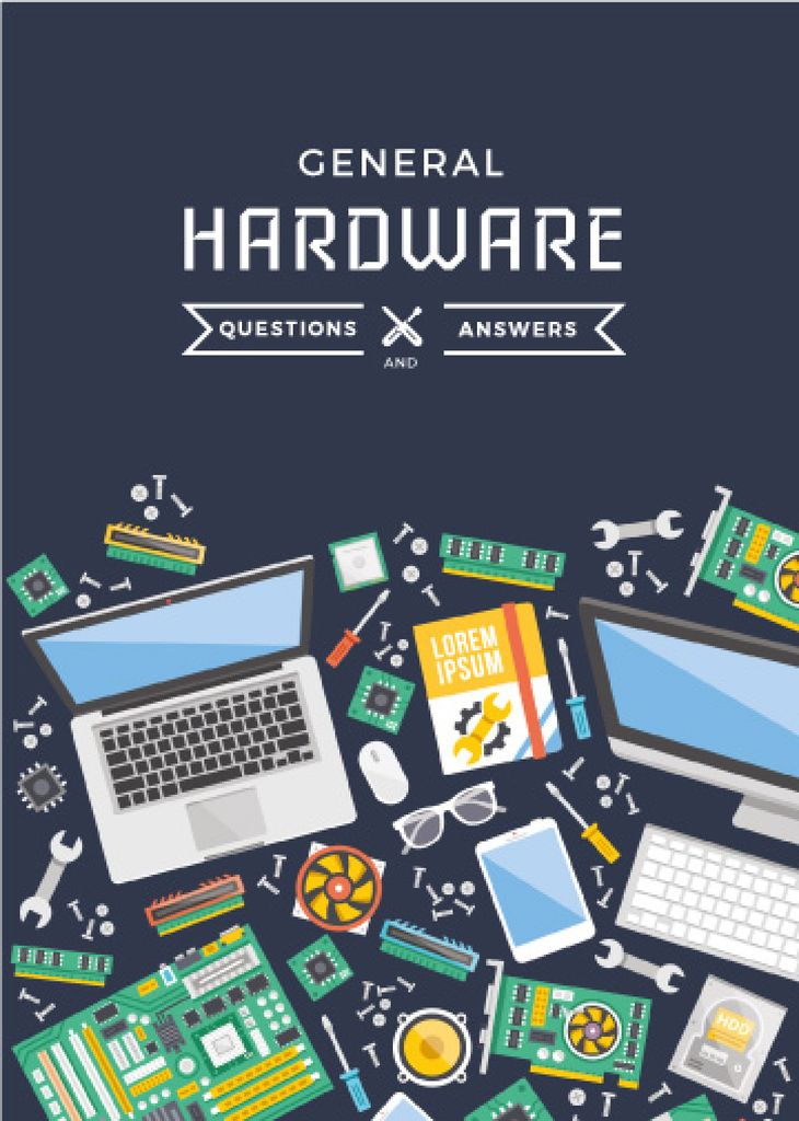 Hardware Tips with Gadgets on table — ein Design erstellen