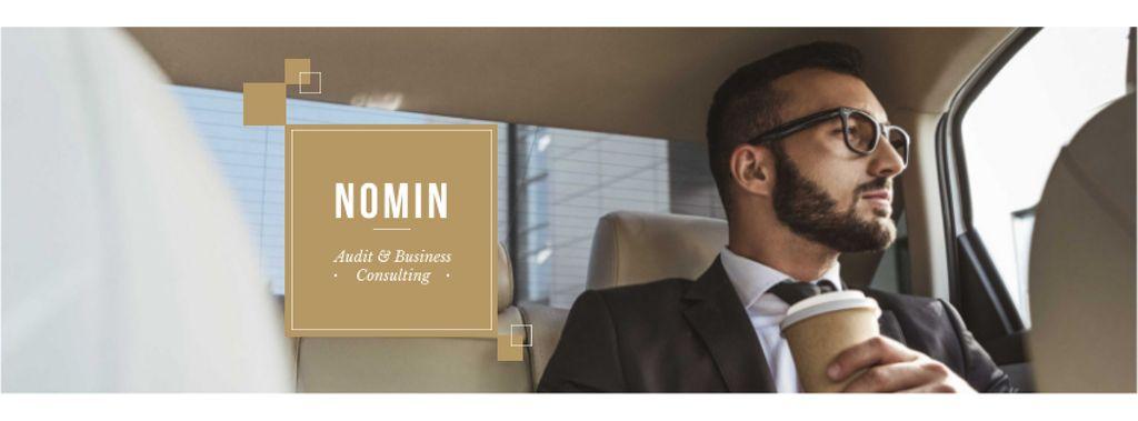 Designvorlage Businessman with Coffee riding in car für Facebook cover