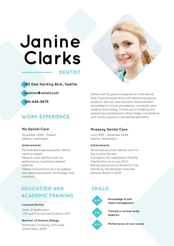Dentist skills and experience Resume – шаблон для дизайну