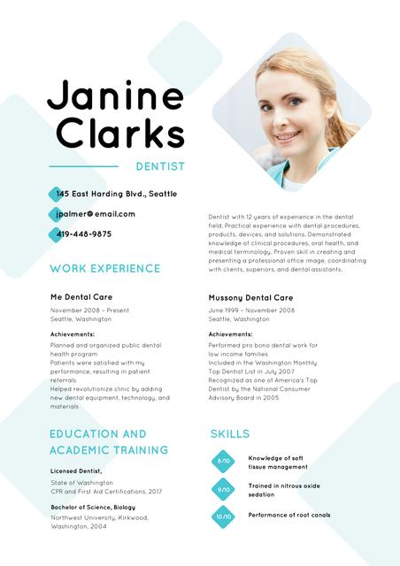 Template di design Dentist skills and experience Resume