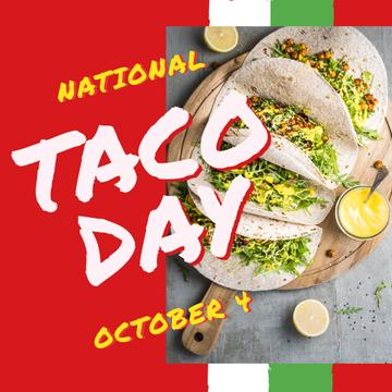 Taco Day Menu Mexican Dish on Plate | Instagram Post Template