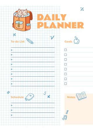 Ontwerpsjabloon van Schedule Planner van Daily Planner with Cute Cat in School Backpack