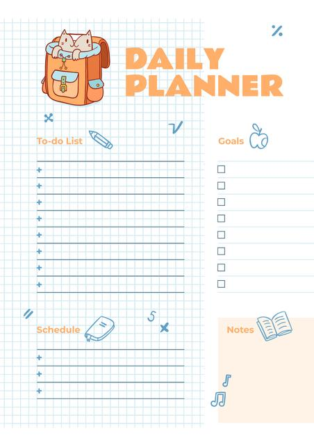 Daily Planner with Cute Cat in School Backpack Schedule Plannerデザインテンプレート
