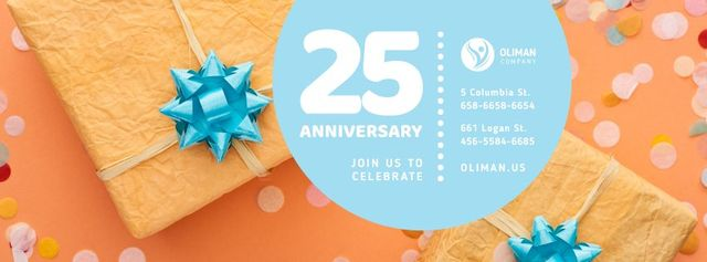 Anniversary Greeting Gifts and Confetti in Orange Facebook coverデザインテンプレート