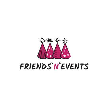 Plantilla de diseño de Event Agency Ad with Birthday Caps in Pink Logo