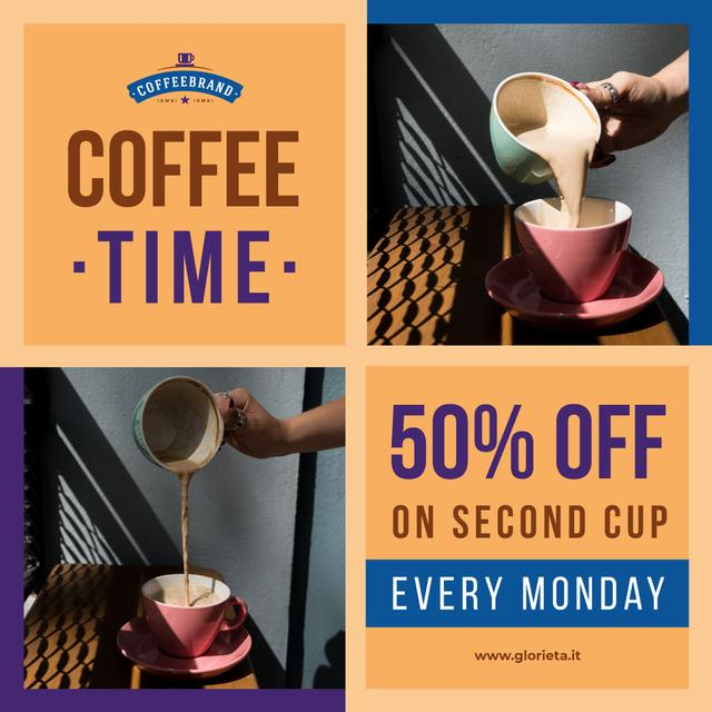 Modèle de visuel Pouring coffee in cup - Instagram
