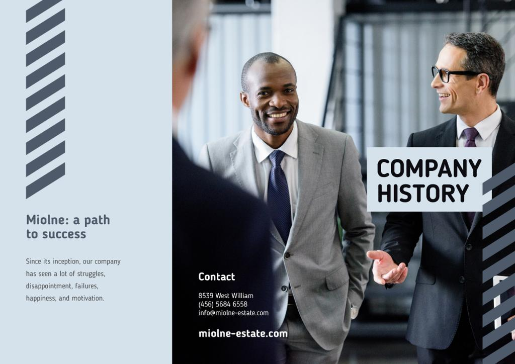 Company History Brochure with Group of Businessmen — Modelo de projeto