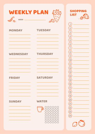 Modèle de visuel Weekly Meal Planner with Food Icons - Schedule Planner