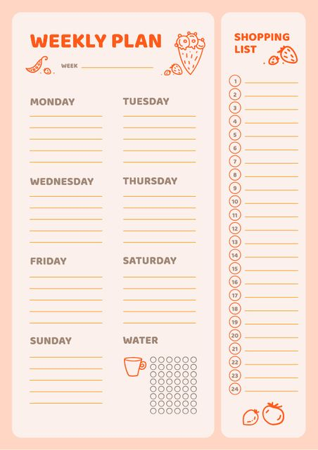 Weekly Meal Planner with Food Icons Schedule Plannerデザインテンプレート