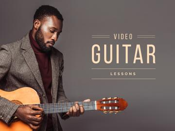Video guitar lessons banner with young man playing guitar