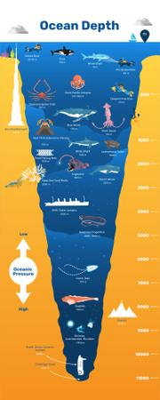 Plantilla de diseño de Education infographics about Ocean Depth Infographic