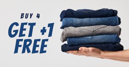Fashion Sale Blue Jeans Pile Facebook AD – шаблон для дизайна