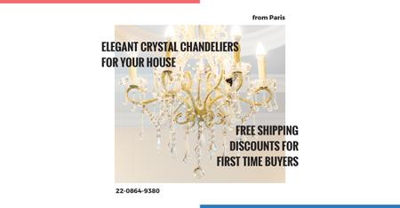 Elegant crystal chandeliers shop Facebook AD – шаблон для дизайну
