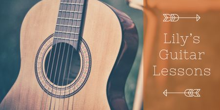 Guitar lessons Ad with Acoustic Guitar Image Modelo de Design