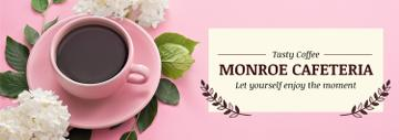 Cafeteria Advertisement with Coffee Cup in Pink | Tumblr Banner Template