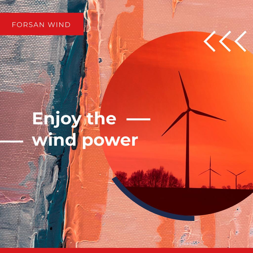 Wind Turbines Farm in Red — Crear un diseño