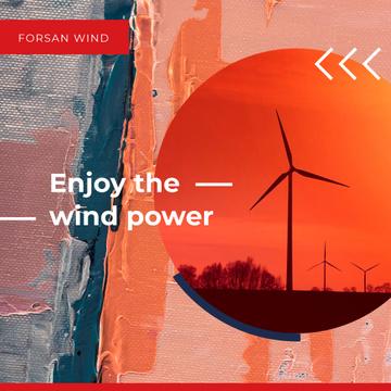 Wind Turbines Farm in Red