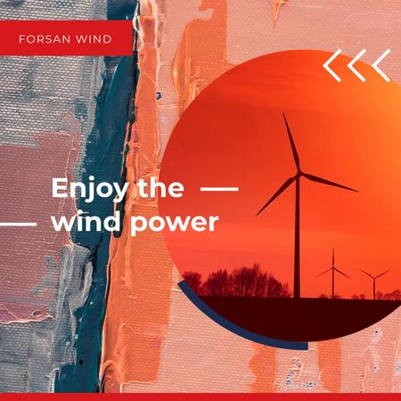 Wind Turbines Farm in Red Instagram AD – шаблон для дизайна