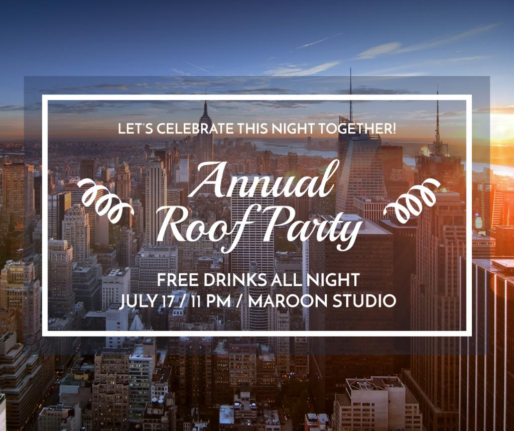 Roof party invitation on city view — Maak een ontwerp