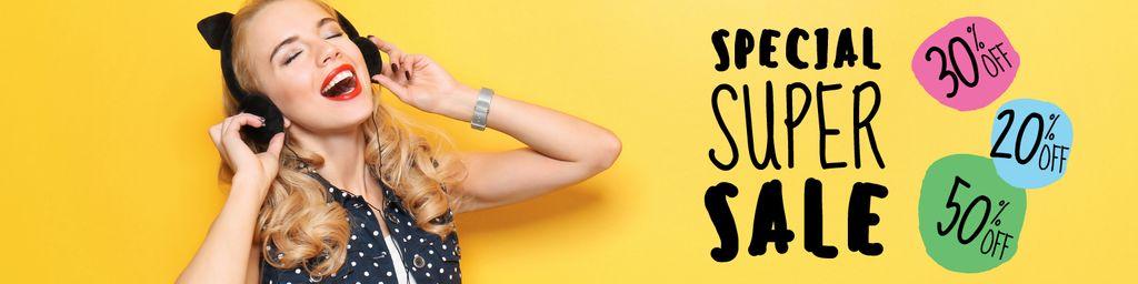 Special super sale with Young Woman in headphones — Crea un design
