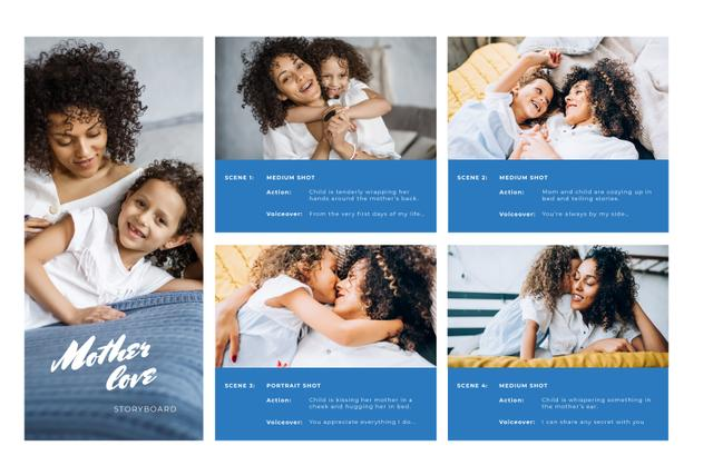Happy Mother and Daughter with Curls Storyboard Design Template