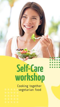 Cooking Workshop Ad with Woman eating Healthy Food Instagram Story Modelo de Design