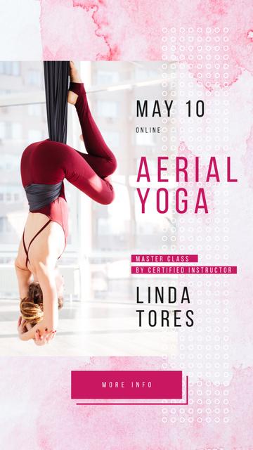 Designvorlage Woman practicing aerial yoga für Instagram Story