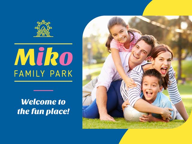 Family Weekend Parents with Kids in Park Presentation Design Template