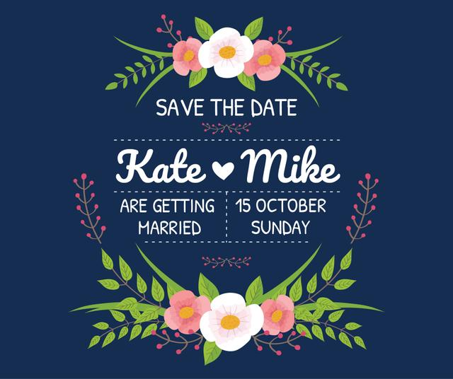 Save the Date Invitation with Floral Frame Facebook Design Template