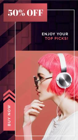 Ontwerpsjabloon van Instagram Video Story van Gadgets sale Woman in Headphones with Pink hair