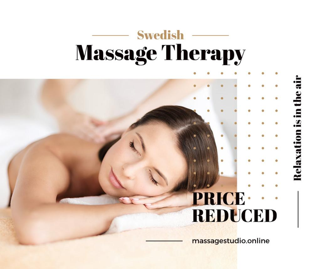 Swedish Massage Therapy Offer Masseur by Relaxed Woman | Facebook Post Template — Создать дизайн