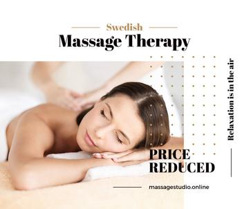 Swedish Massage Therapy Offer Masseur by Relaxed Woman | Facebook Post Template