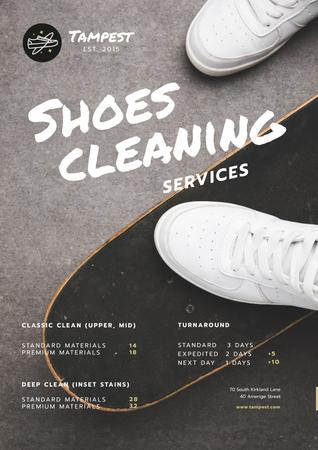Template di design Shoes Cleaning Services Ad with Sportsman on Skateboard Poster