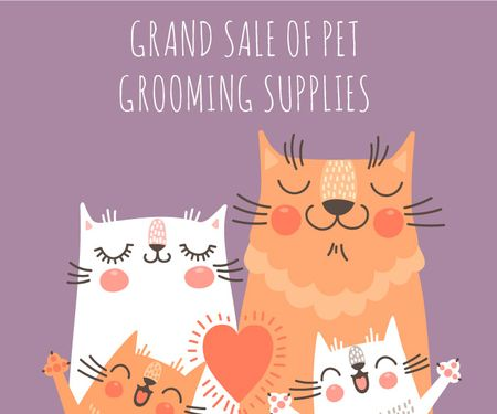 Ontwerpsjabloon van Large Rectangle van Grand sale of pet grooming supplies