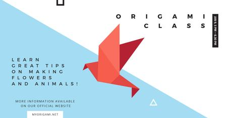 Origami class Ad with Paper Bird Facebook AD Modelo de Design