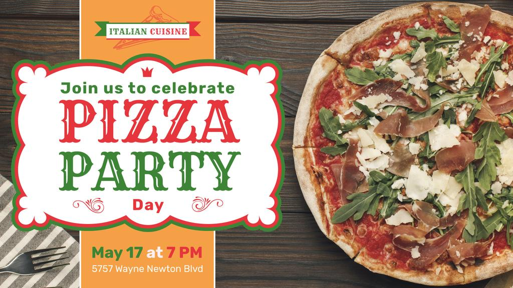 Pizza Party Day Pizza with Arugula | Facebook Event Cover Template — Crea un design