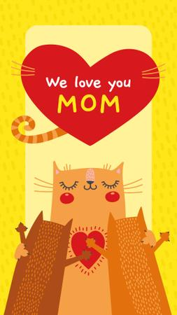 Plantilla de diseño de Cat hugging its kittens on Mother's Day Instagram Story