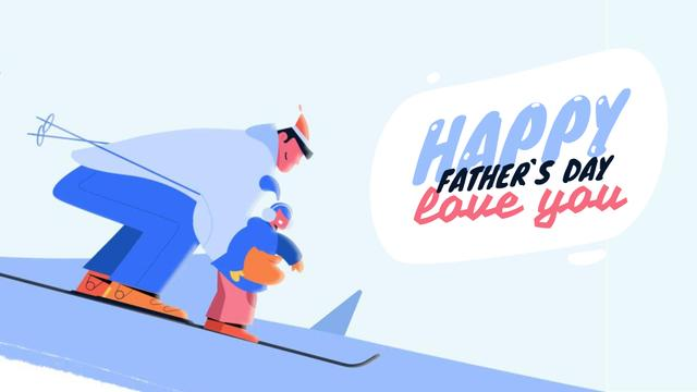 Template di design Father and Kid Skiing on Father's Day  Full HD video