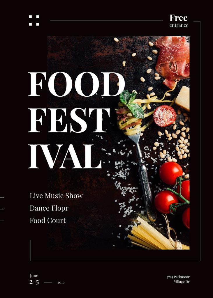 Delicious Italian pasta at Food Festival — Modelo de projeto