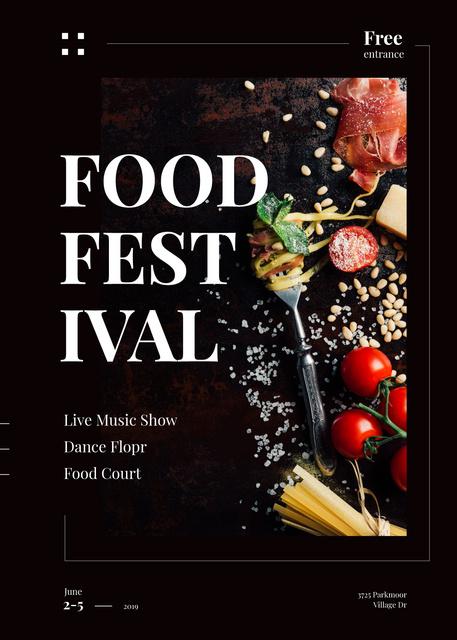 Plantilla de diseño de Delicious Italian pasta at Food Festival Invitation