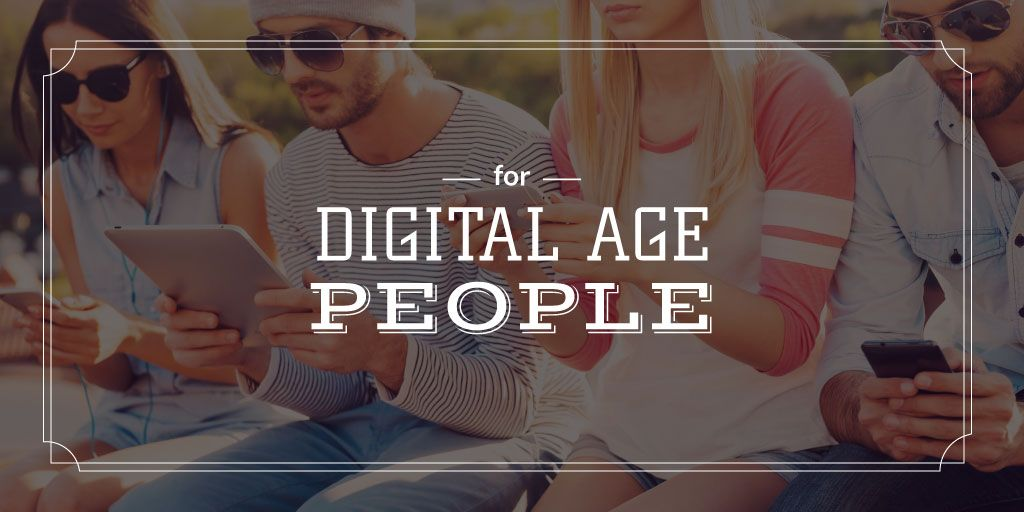 young people with digital gadgets — Créer un visuel