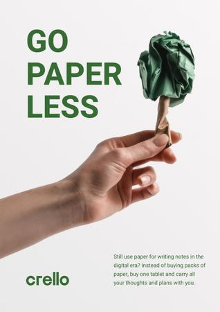 Paper Saving Concept with Hand with Paper Tree Poster – шаблон для дизайна