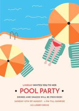 Summer Party invitation Umbrella by Swimming pool