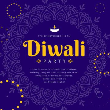 Diwali Party Invitation with Mandala in Blue