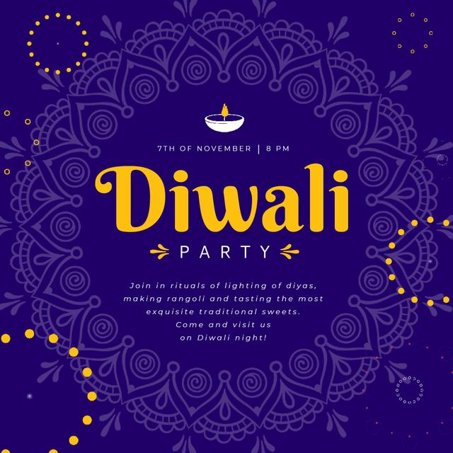 Diwali Party Invitation with Mandala in Blue Animated Post – шаблон для дизайна